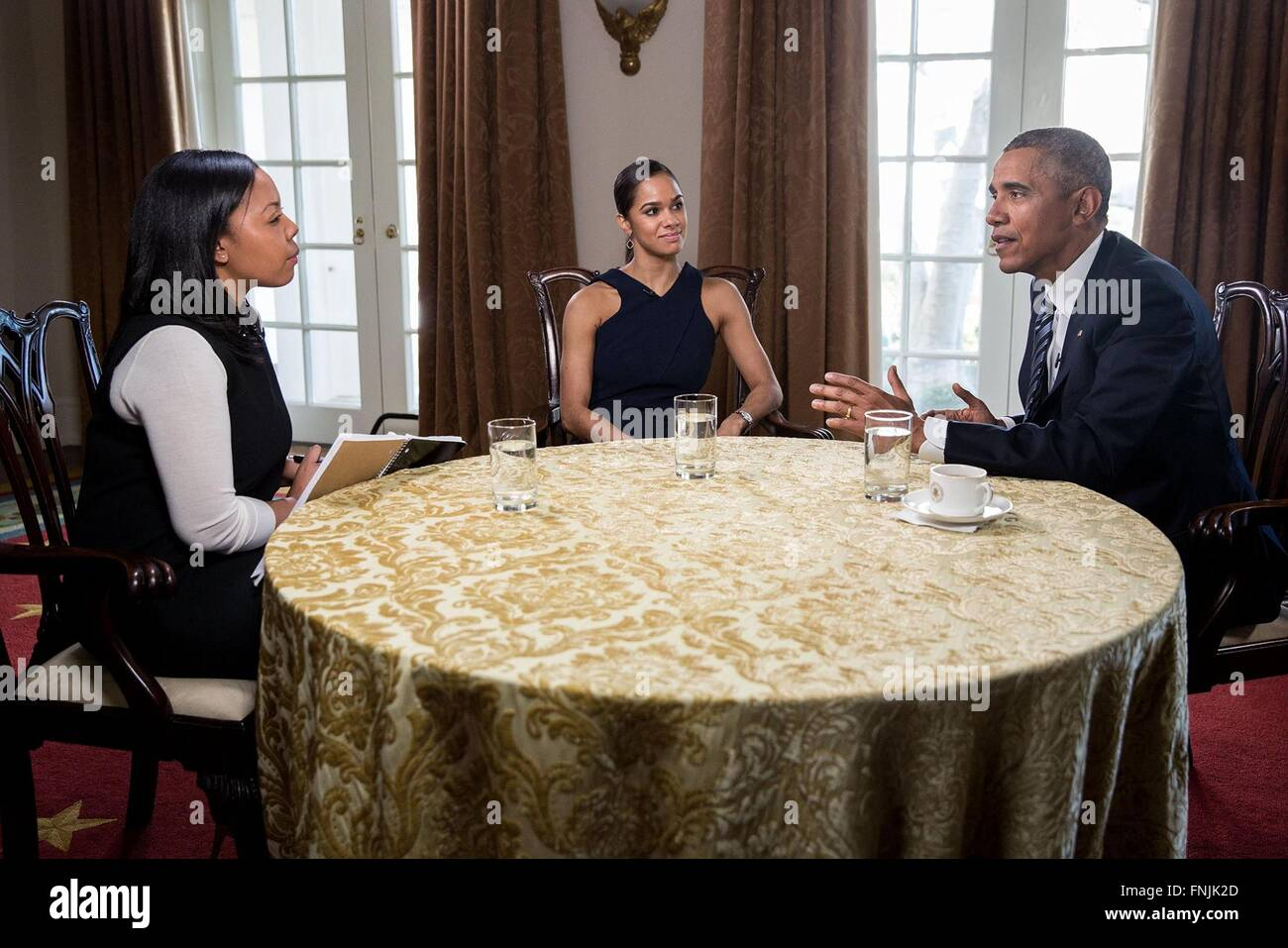 U.S. President Barack Obama during a conversation with ballet dancer Misty Copeland, center, and Time Magazine reporter - Stock Image