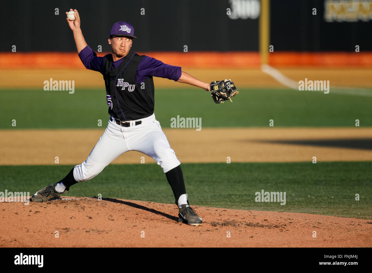 Winston-Salem, NC, USA. 15th Mar, 2016. Michael Hennessey (25) of the High Point Panthers gets the start in the Stock Photo