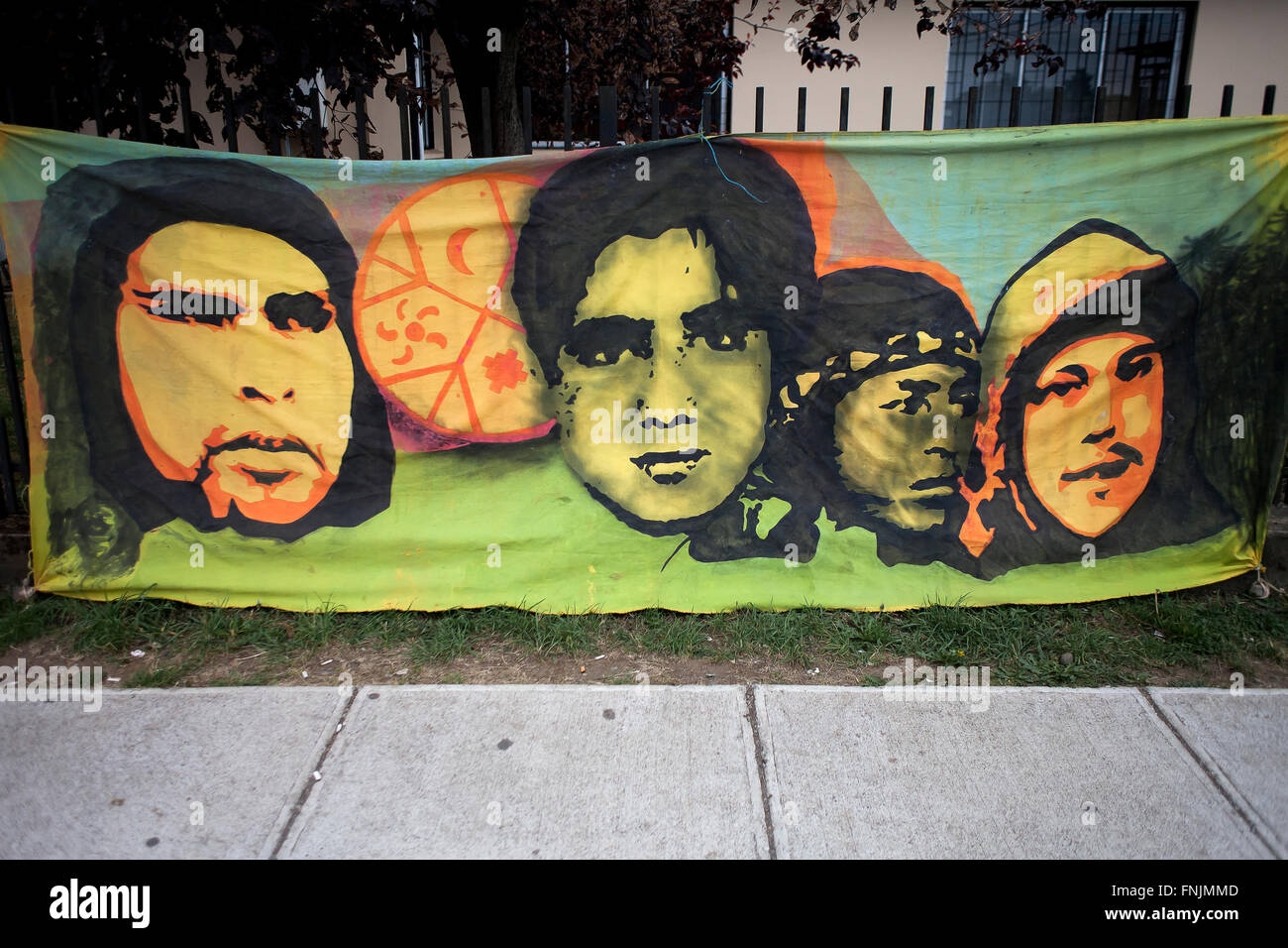 Rio Bueno, Chile. March 15, 2015.  In the image a canvas with the faces of young Mapuche killed by the Chilean State. Stock Photo