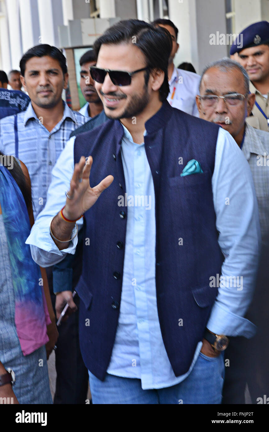 Jodhpur, India. 13th Mar, 2016. Bollywood Film Actor Vivek Oberoi arrives in Jodhpur civil airport to attend a private - Stock Image