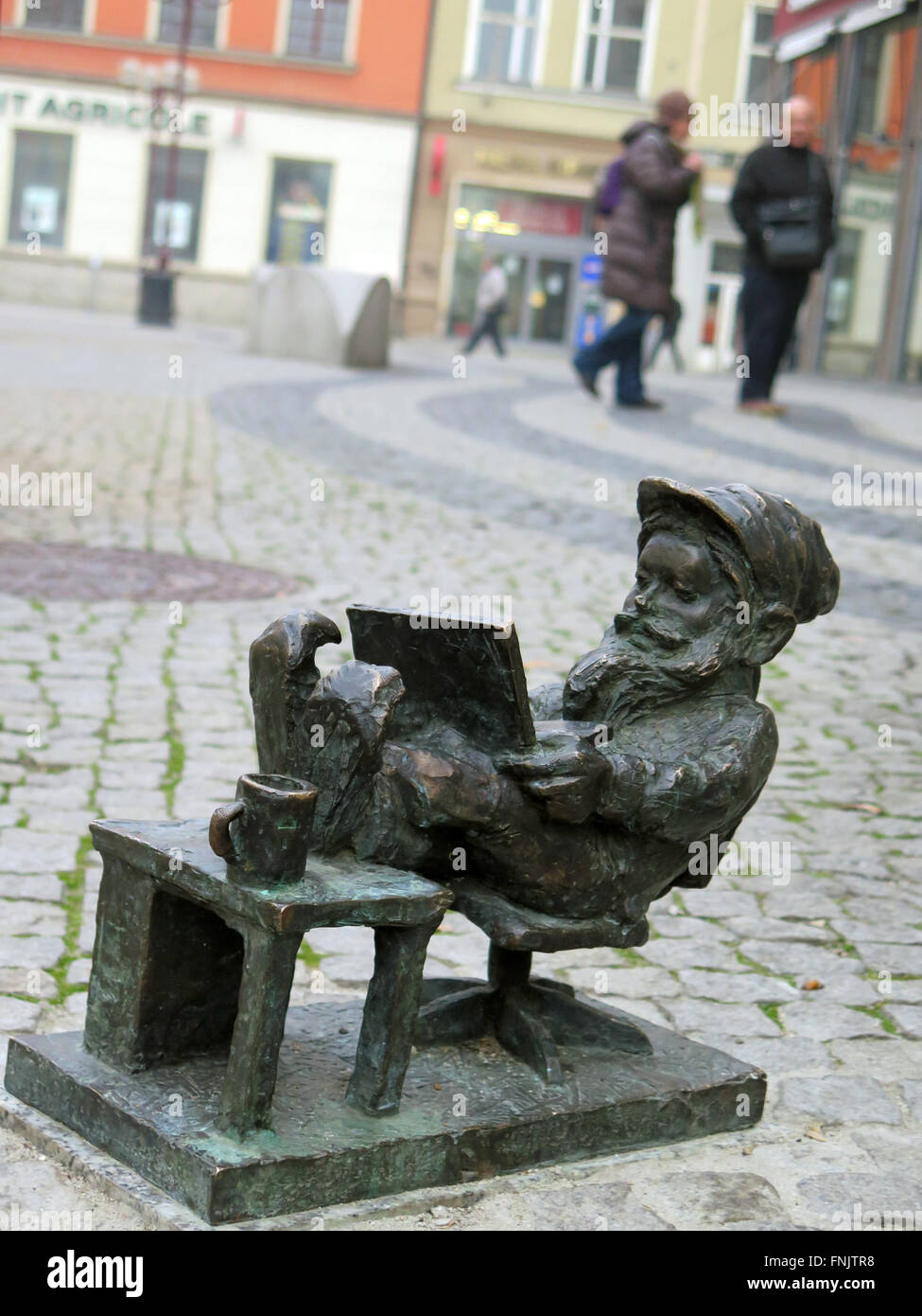The dwarf 'Capgeminiusz Programista', a kind of IT dwarf, in Wroclaw, Poland, photographed in January 2016. - Stock Image