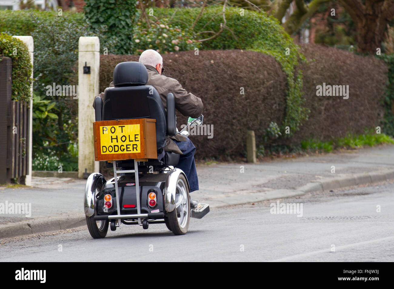 Wheelchair user atTarleton, Lancashire, UK. 16th March, 2016.  Senior, Pensioner  protestor displaying sign highlighting - Stock Image