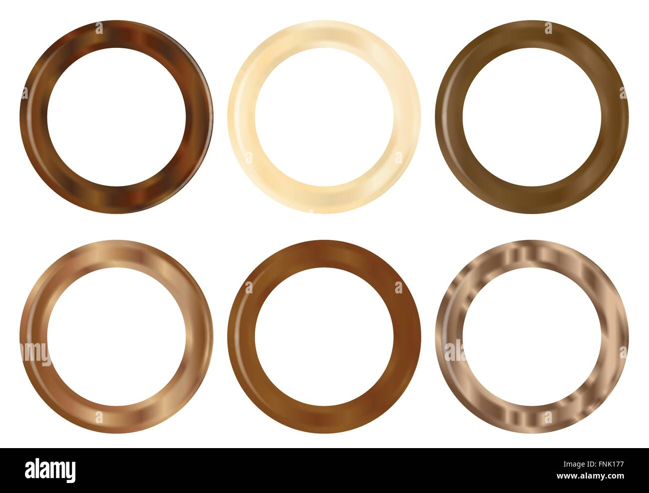 A selection of 6 wooden curtain rings - Stock Vector