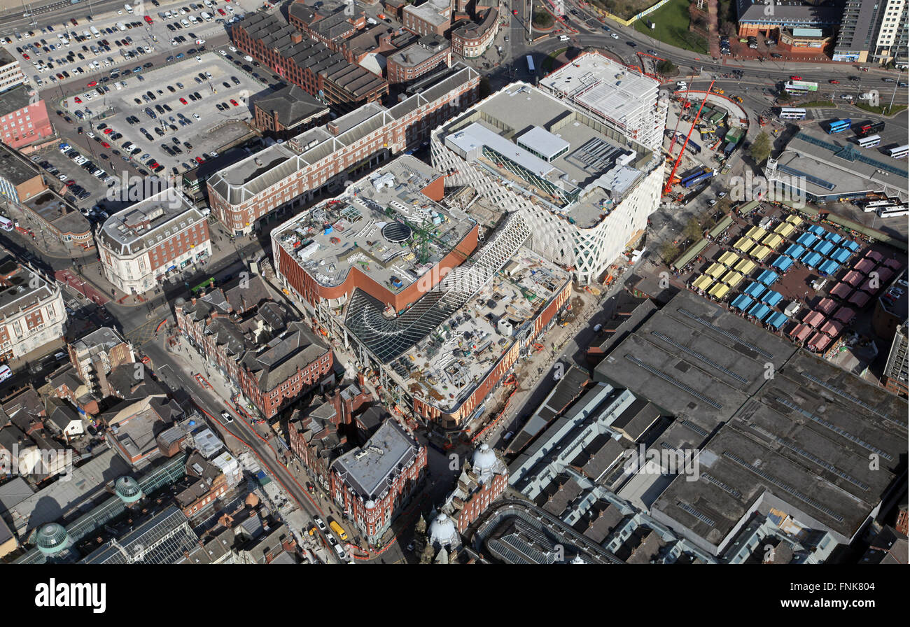 aerial view of the Victoria Gate development in Leeds, March 2016 - Stock Image