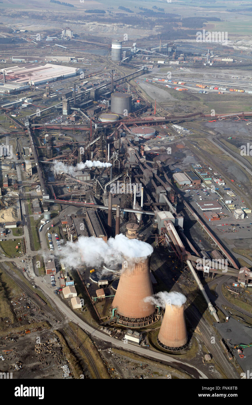 aerial view of the British Steel Tata steelworks in Scunthorpe, Lincolnshire, UK - Stock Image