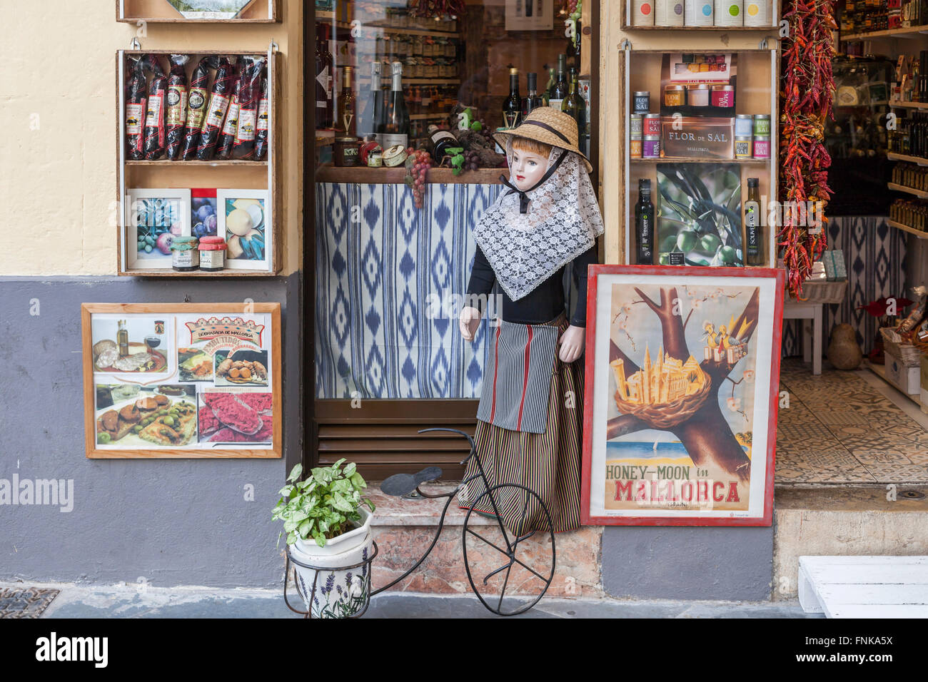 Shop with typical products of Palma de Mallorca, Balearic Islands, Spain. Stock Photo