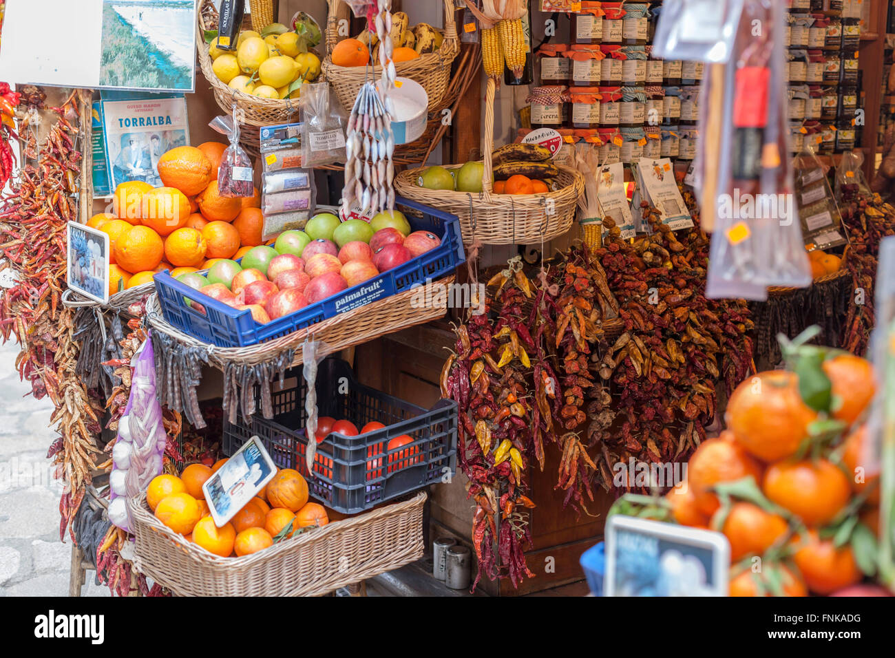 Shop typical products in Palma de Mallorca, Balearic Islands, Spain. Stock Photo