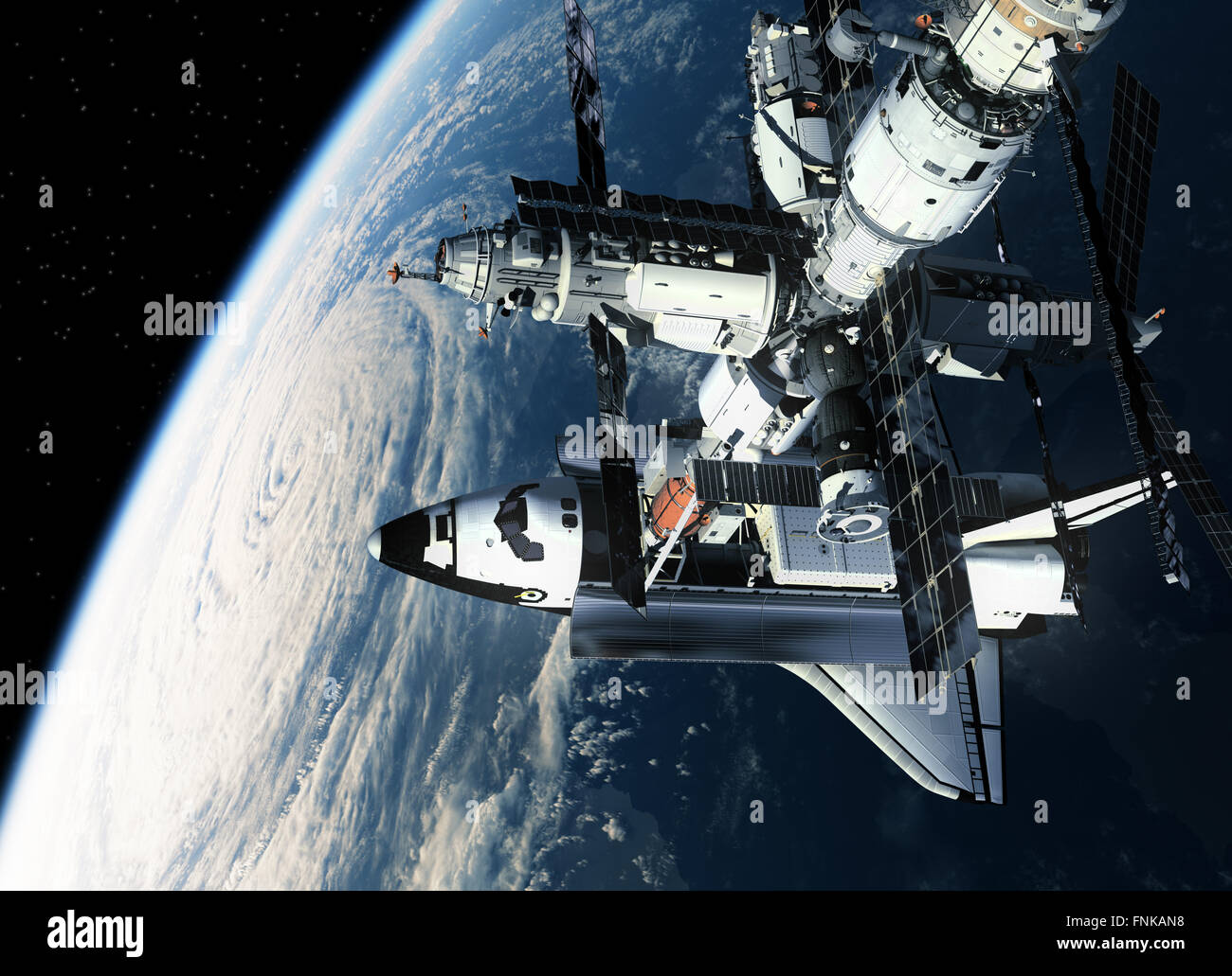 Space Station And Space Shuttle Orbiting Earth. 3D Scene. - Stock Image