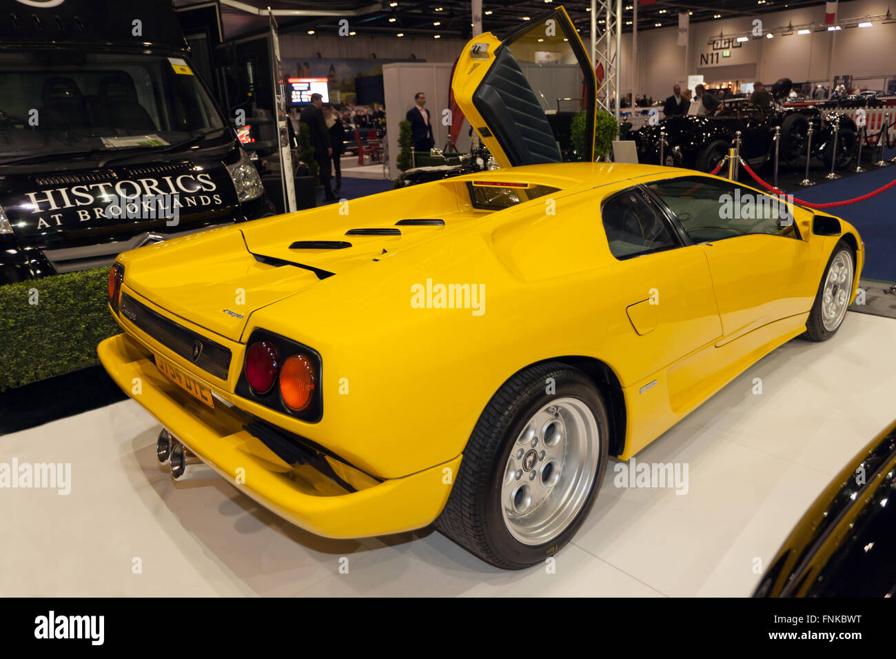 Rear view of a 1991 Lamborghini Diablo, on static display at
