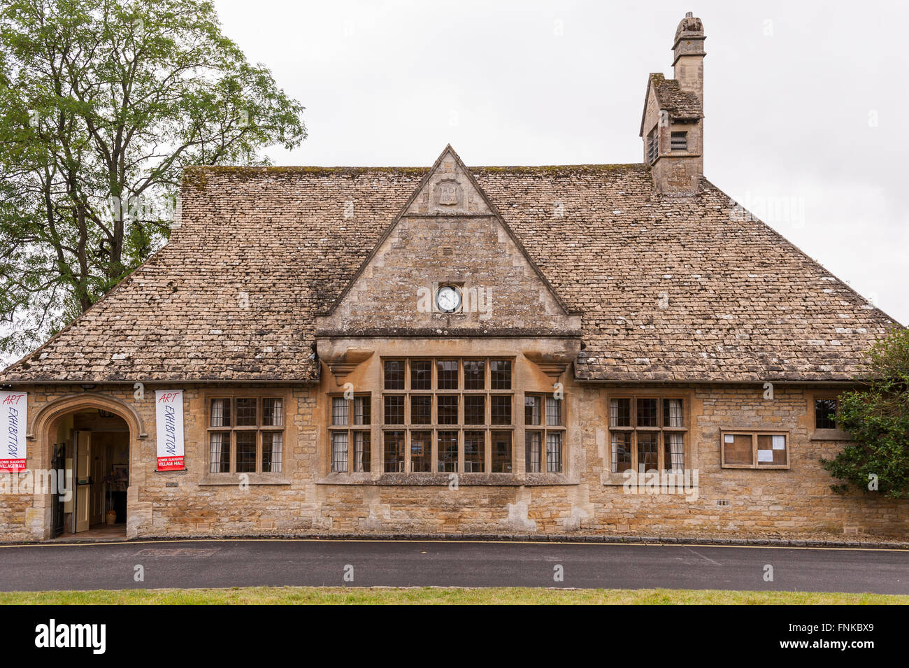An Art Exhibition in the village Hall of Lower Slaughter , Gloucestershire , England , Britain , Uk - Stock Image