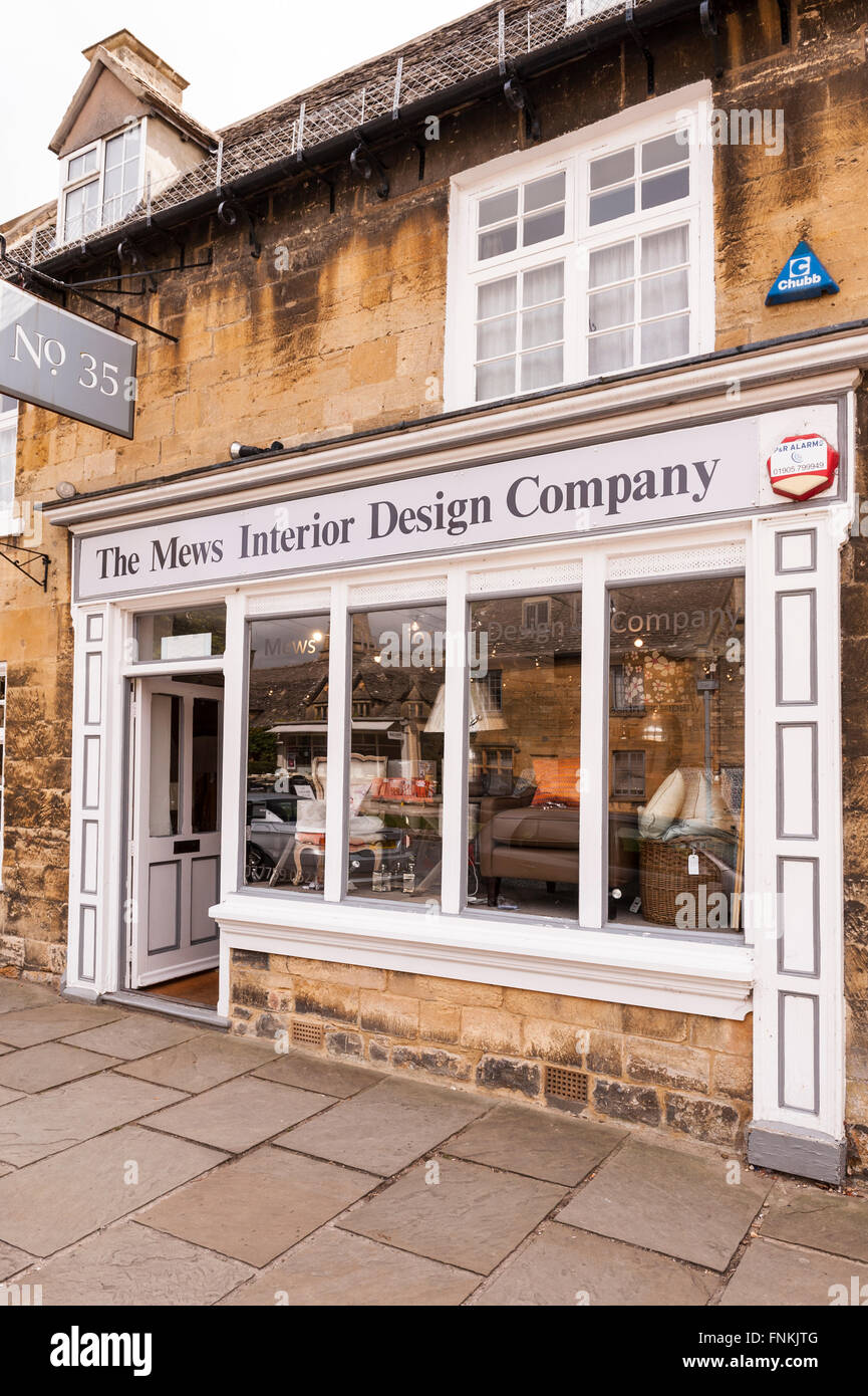 The Mews Interior Design Company shop store in Broadway ,  Worcestershire , England , Britain , Uk - Stock Image