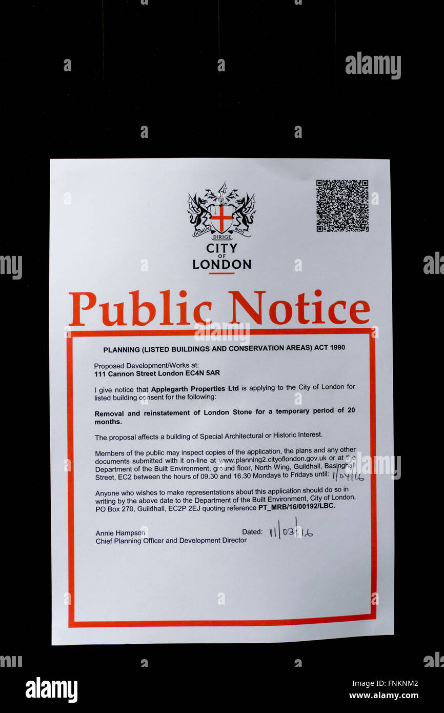 Notice of seeking Listed Building consent to the removal of the London Stone from its existing position in Cannon - Stock Image