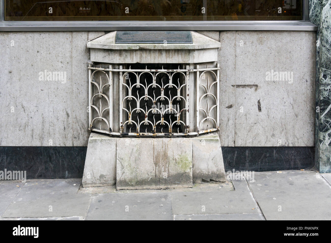 The London Stone set in the front of a building in Cannon Street.  SEE DETAILS IN DESCRIPTION. Stock Photo