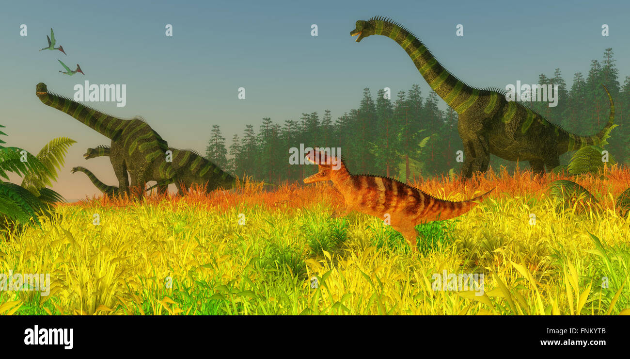 Two Pterodactylus reptiles fly over a herd of Brachiosaurus sauropod dinosaurs as they keep a wary eye on a Ceratosaurus. Stock Photo
