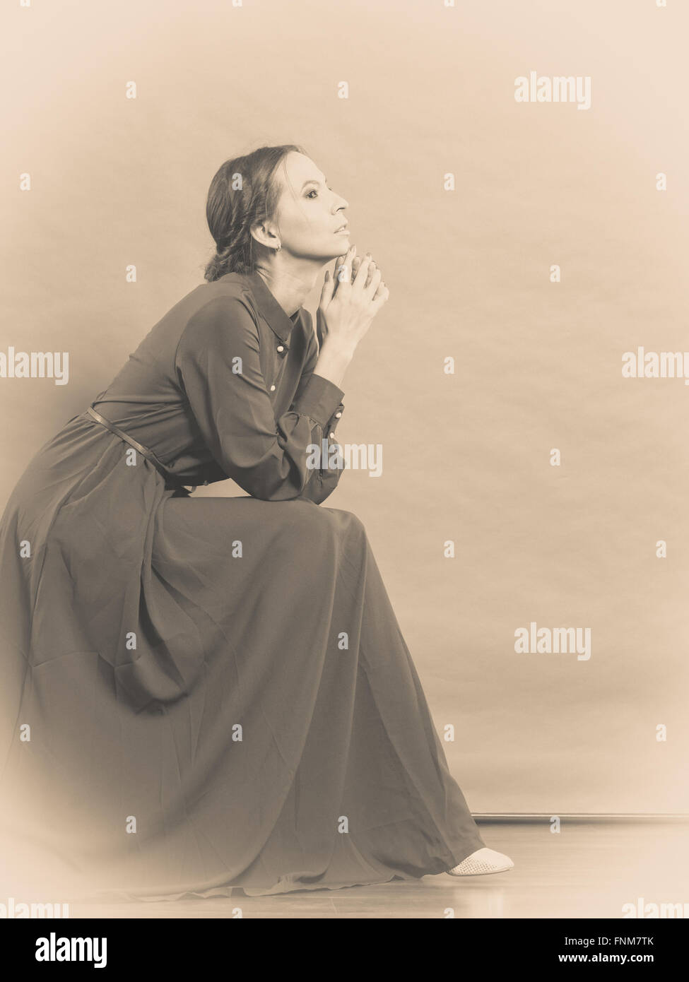 Sad Woman Retro Style Portrait Long Dark Gown Vintage Photo Sepia Toned