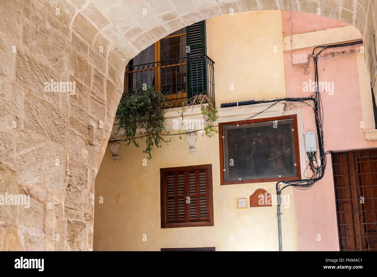 Street facade detail colores,Palma de Mallorca, Balearic Islands, Spain. - Stock Image