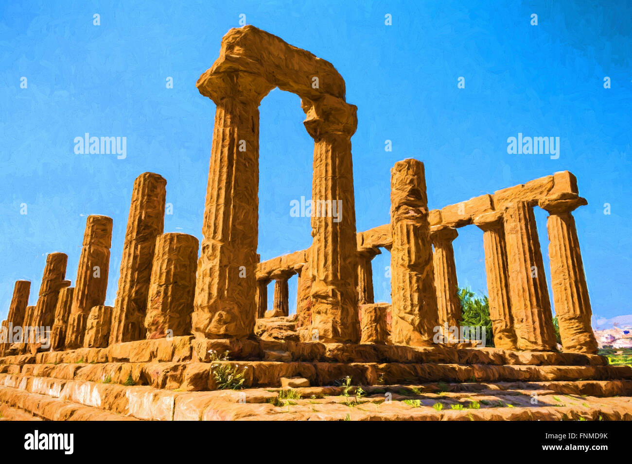 Ancient greek Temple of Juno Hera God Agrigento valley of temples