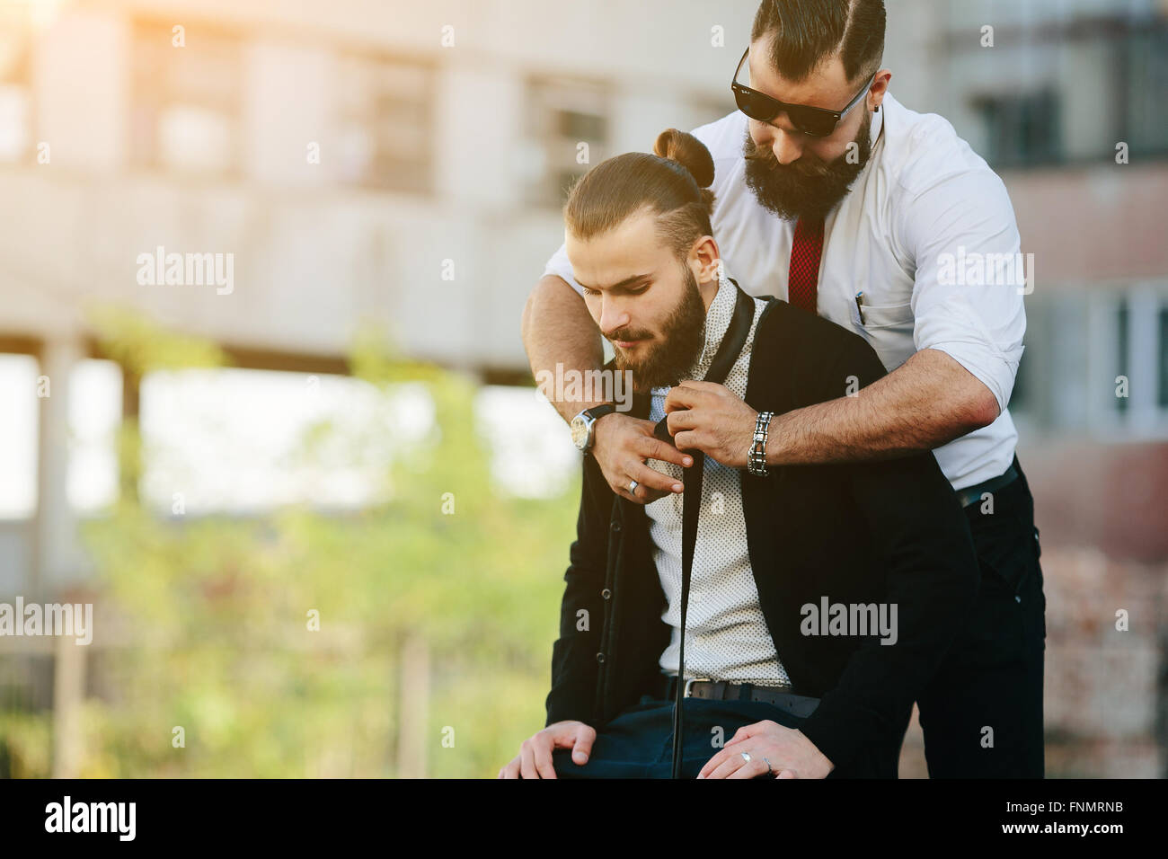 two businessmen prepared to work - Stock Image