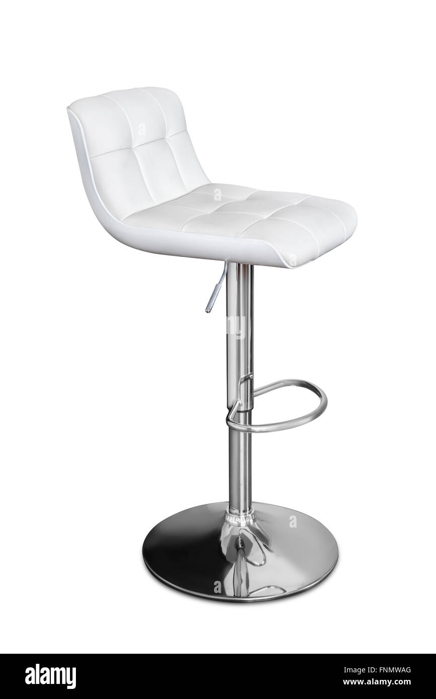 Leather and chrome bar stool isolated on white - Stock Image
