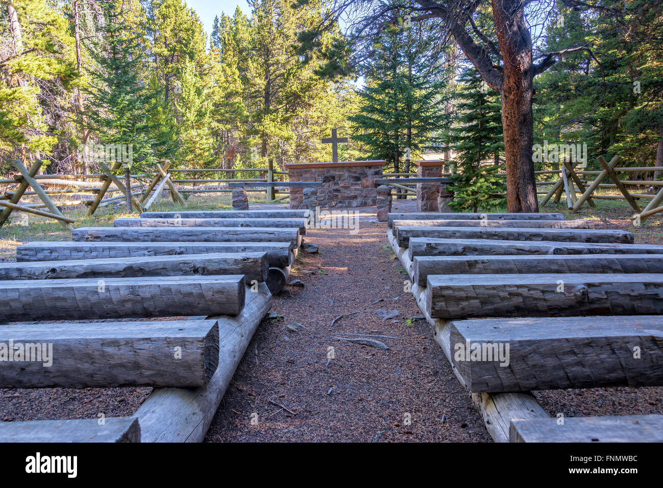 Outdoor church in a forest in Bighorn National Forest in Wyoming Stock Photo