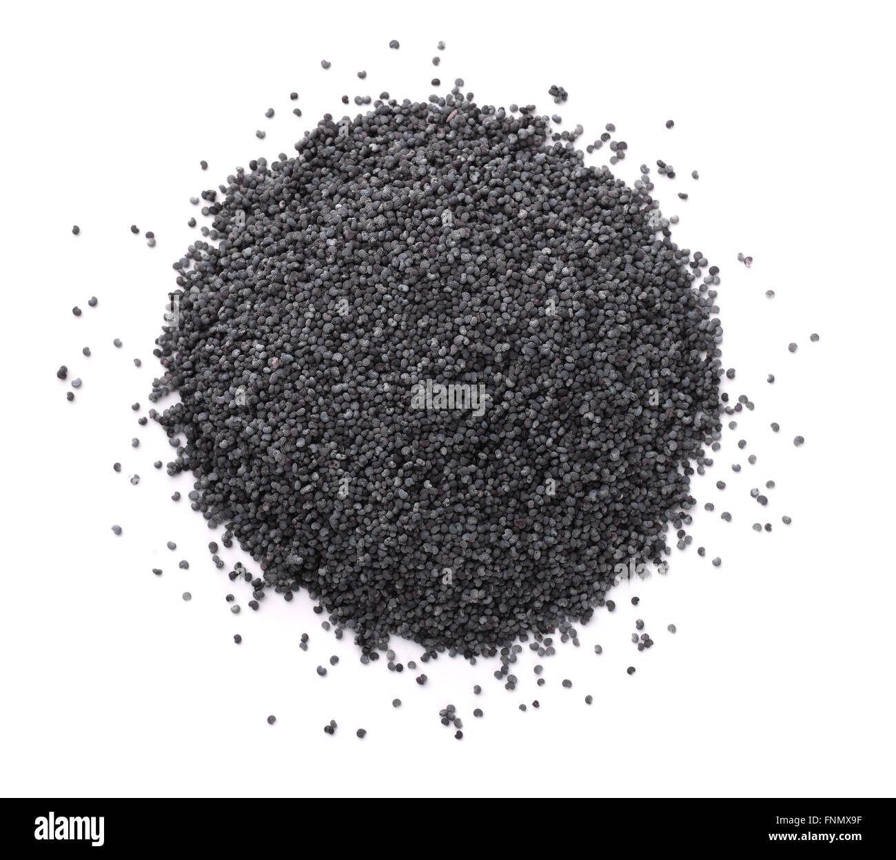Top view of poppy seeds isolated on white - Stock Image