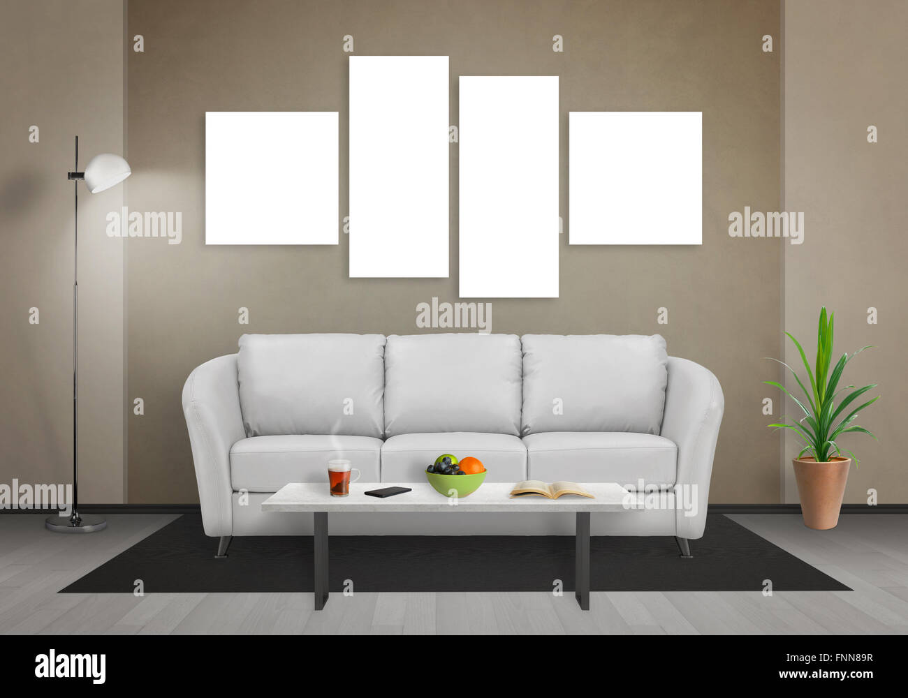 Four isolated art canvas in living room for mockup. Sofa, table ...