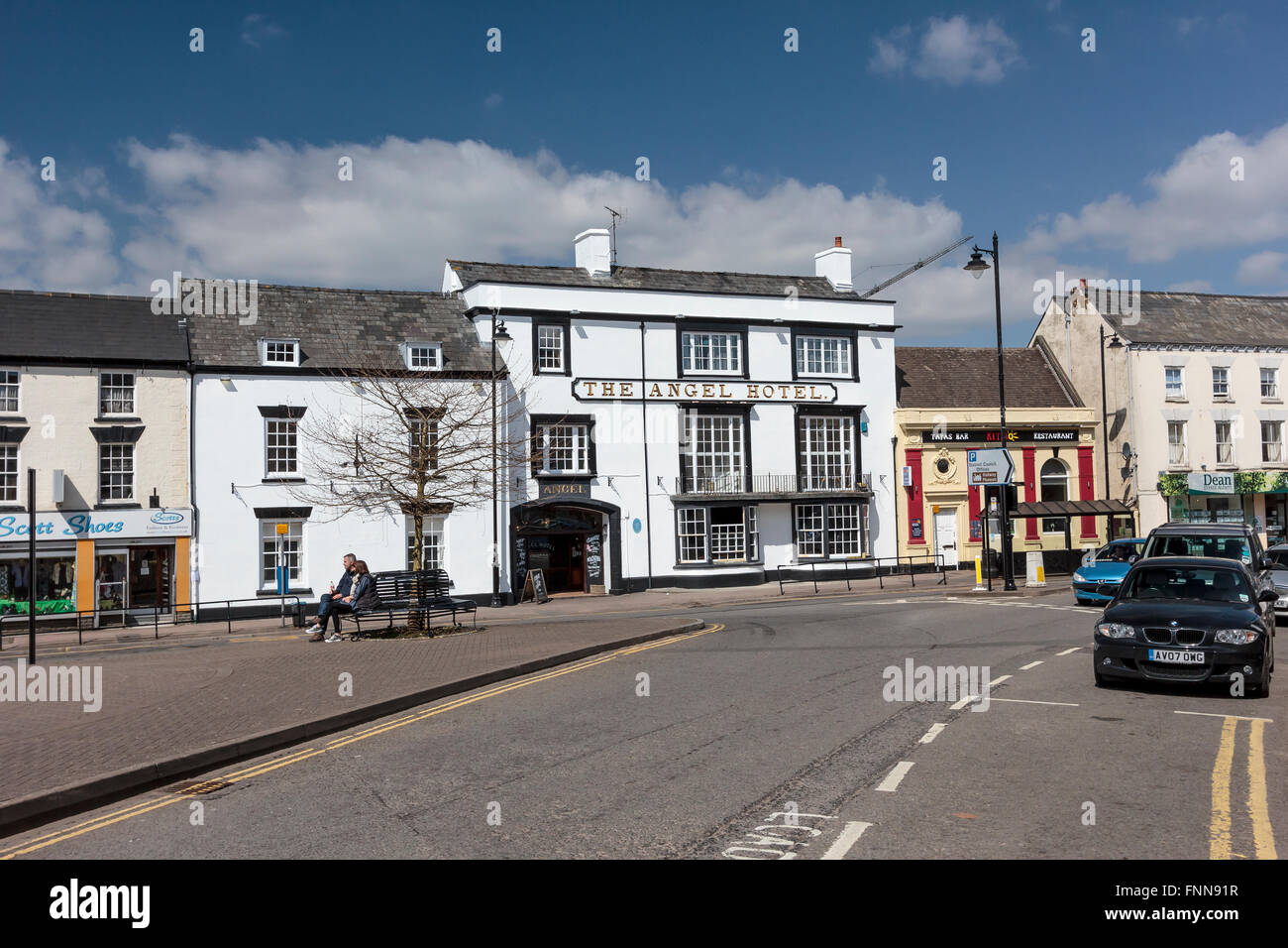 The centre of Coleford, Gloucestershire, looking towards The Angel Hotel. Situated in the Forest of Dean, Gloucestershire, - Stock Image