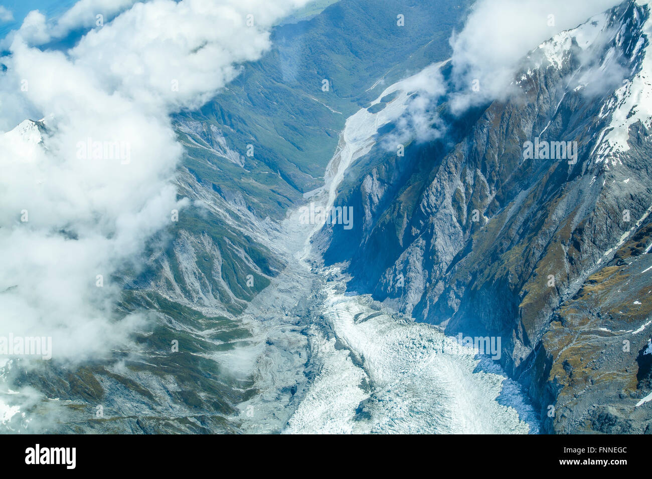 Mount Cook and the Southern Alps from above Stock Photo