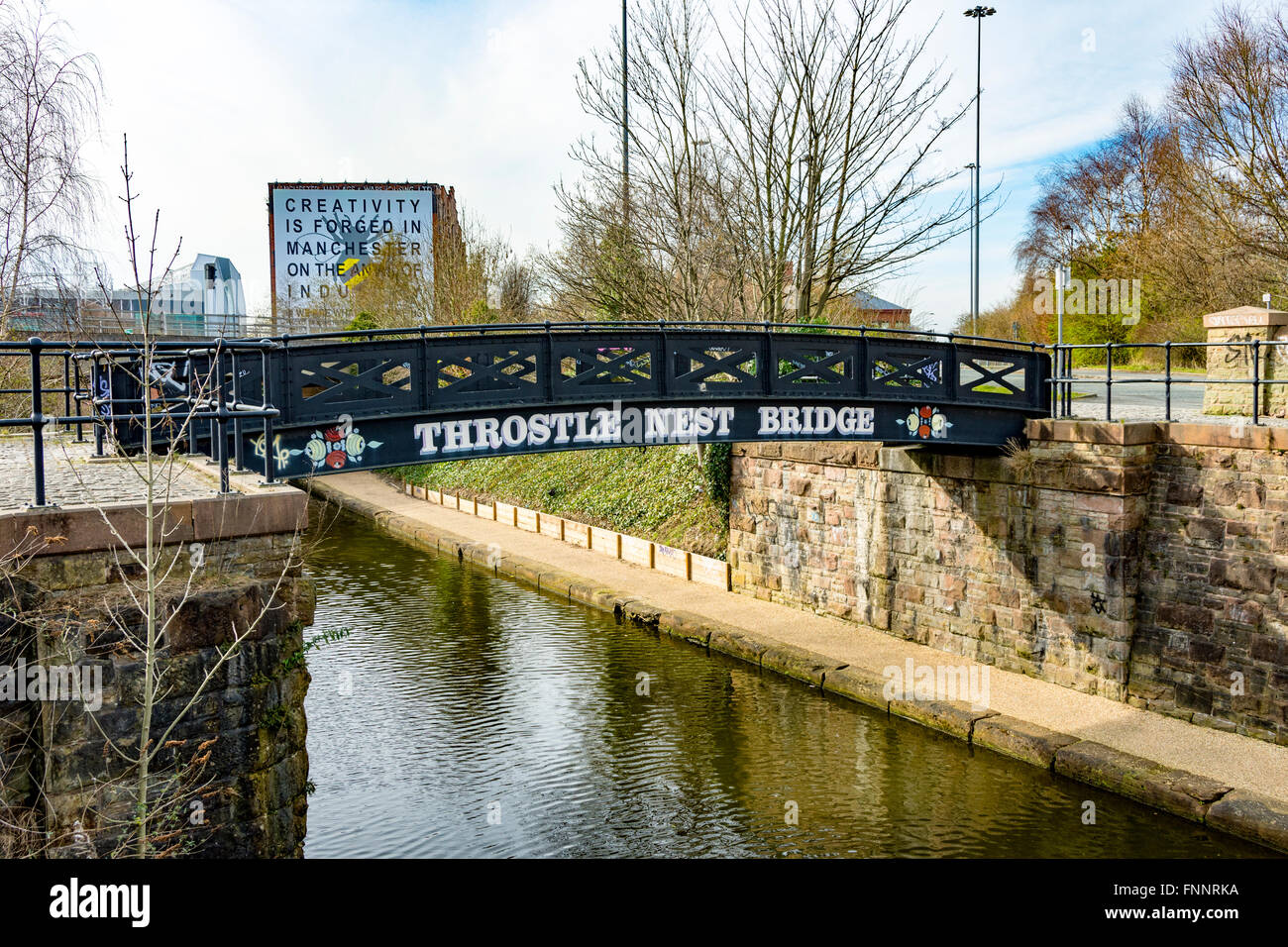 The Throstle Nest footbridge over the Bridgewater Canal, Old Trafford, Manchester, England, UK - Stock Image
