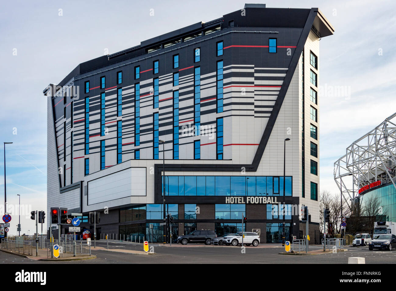 Hotel Football, Sir Matt Busby Way, Old Trafford, Manchester, England, UK - Stock Image