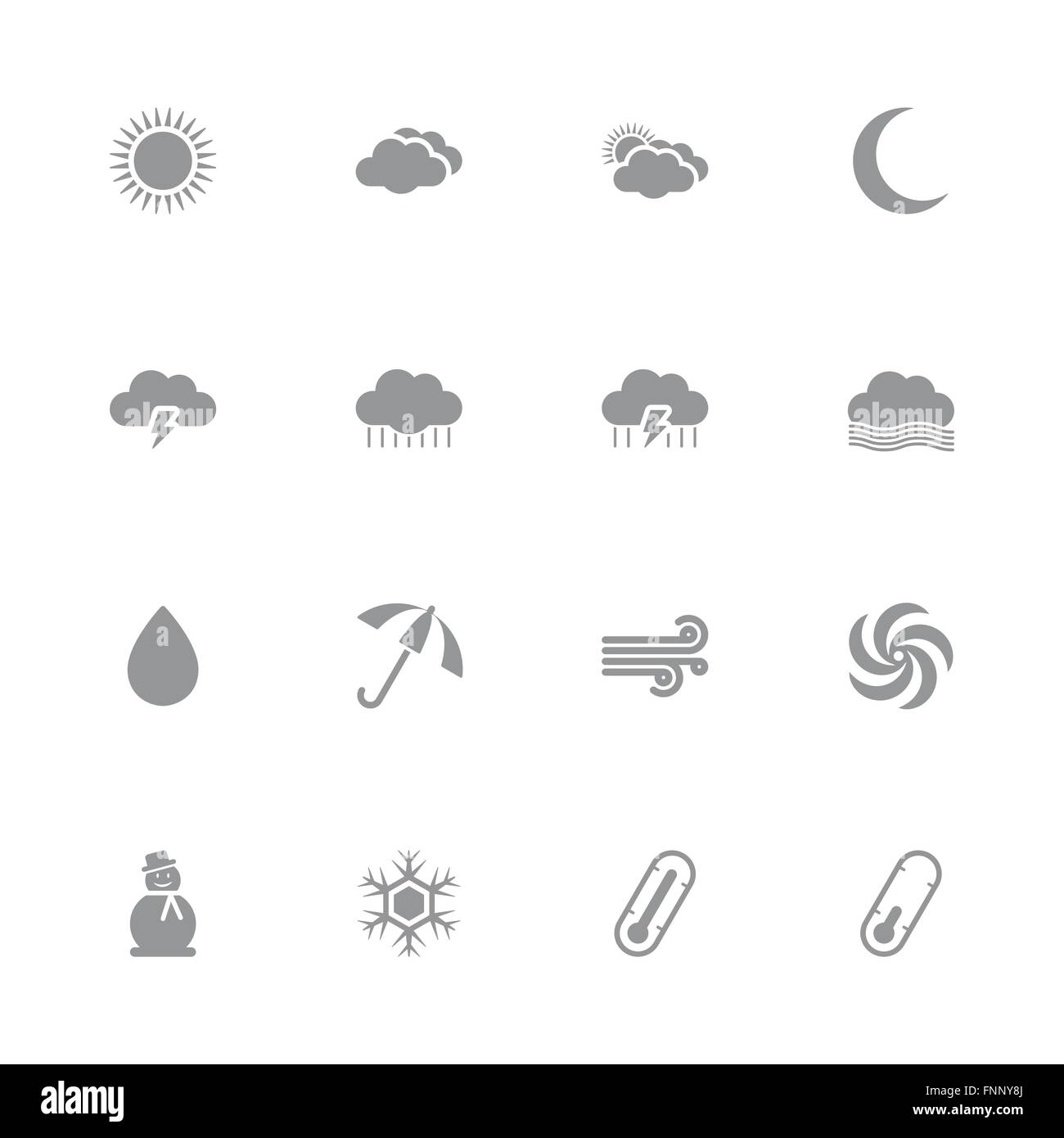 JPEG Gray Simple Flat Weather Icon Set For Web Design User Interface