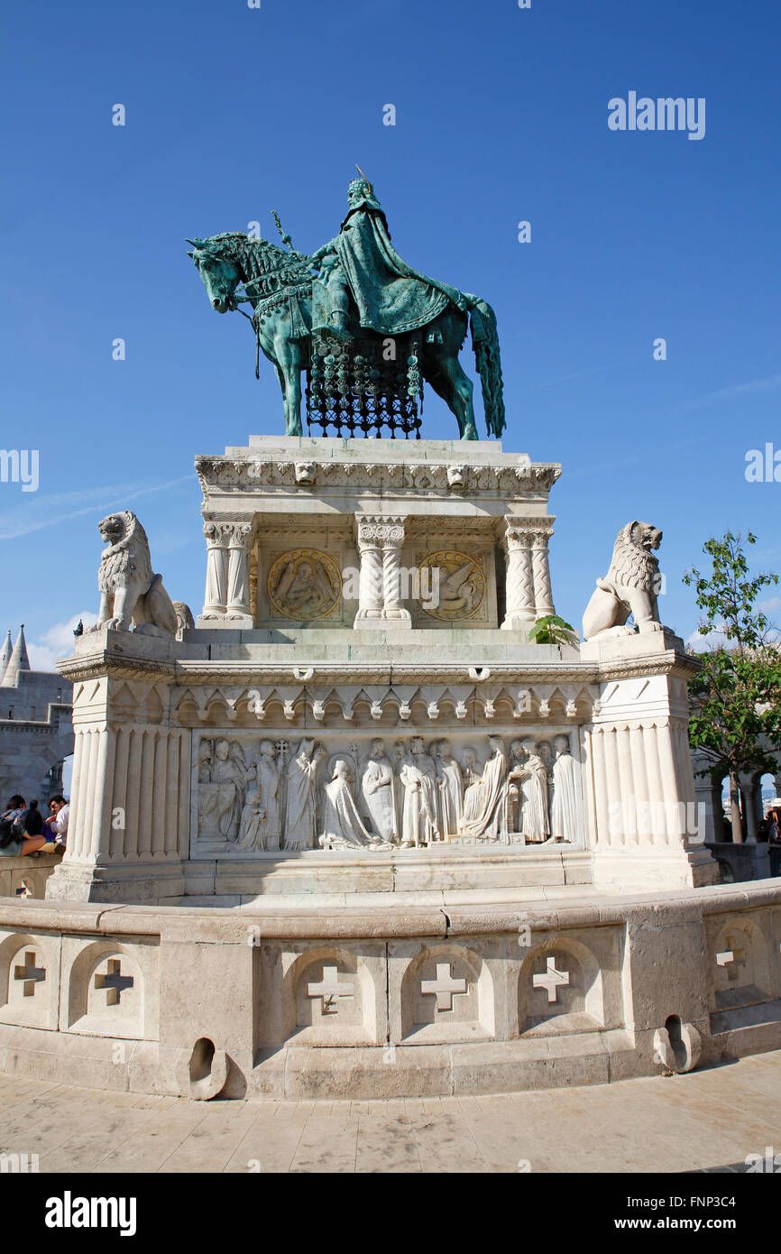Equestrian statue King Stephen I. at the Fisherman's Bastion in the Castle District, Budapest, Hungary Stock Photo