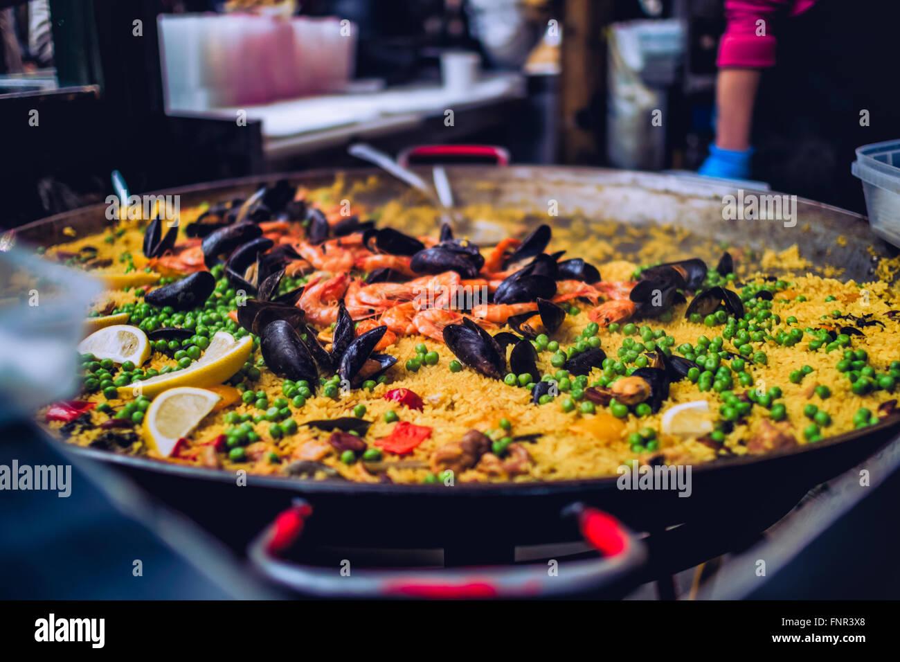 Paella at Borough Market - Stock Image