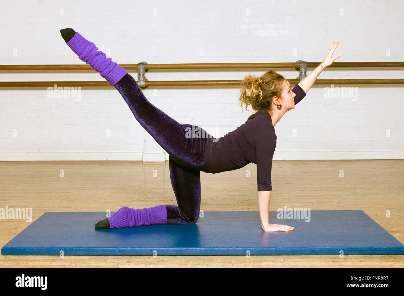 Pilate's Arabesque routine being practiced in fitness center. - Stock Image