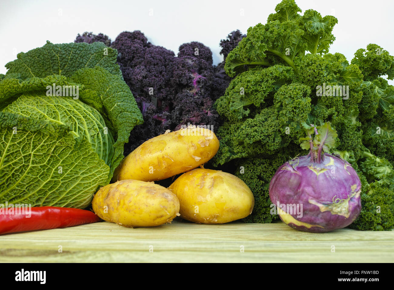 Fresh Organic Vegetables Green Savoy Cabbage Purple And Green Stock Photo Alamy