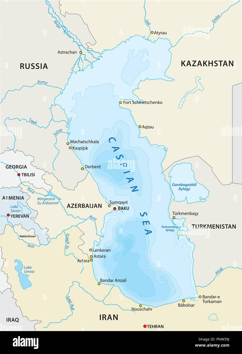Map Of Caspian Sea Map Of The Caspian Sea Stock Photos & Map Of The Caspian Sea Stock  Map Of Caspian Sea