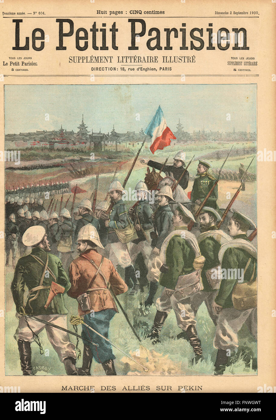 Boxer rebellion Allies march on Peking - Stock Image