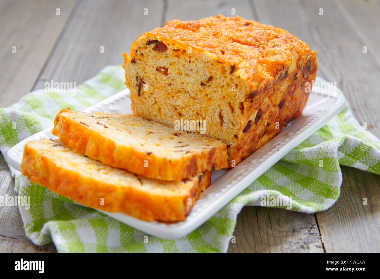Corn bread with bacon and cheddar - Stock Image