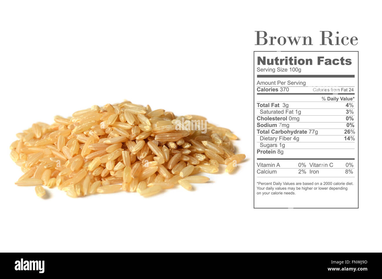 Healthy Brown Rice Uncooked With Nutrition Facts On White Background Stock Photo Alamy