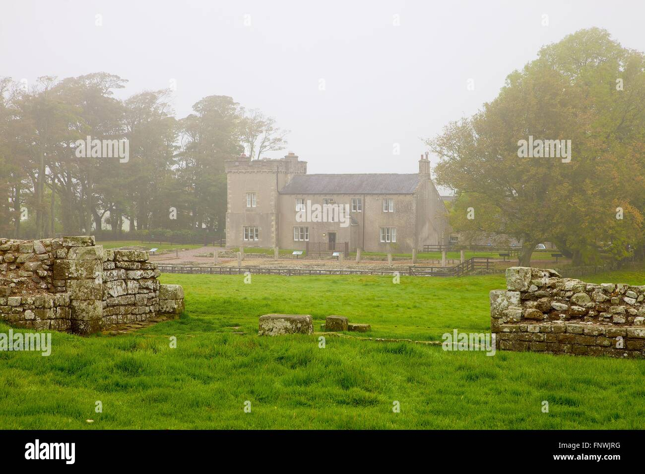 Hadrian's Wall. Fog enveloped. Birdoswald Roman Fort, Cumbria, England, United Kingdom. - Stock Image