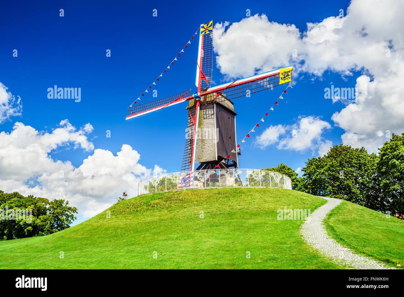 Bruges, Belgium. Sint Janshuismolen wind mill dating from 1770, still in its original spot, West Flanders Stock Photo