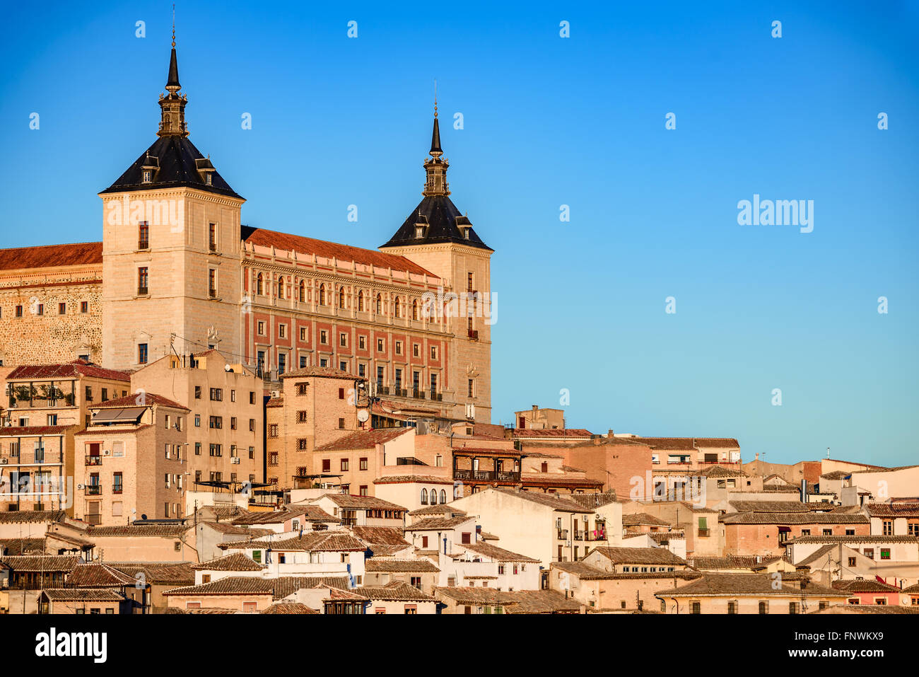 Toledo, Spain. Alcazar view in ancient city on a hill over the Tagus River, Castilla la Mancha medieval attraction of Espana. Stock Photo