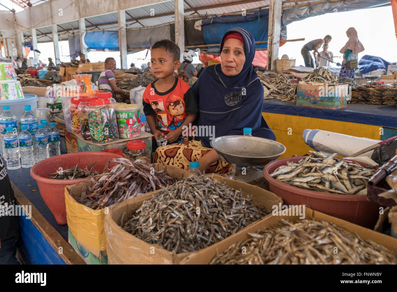 fish market in Labuan Bajo, Flores, Indonesia, Asia Stock Photo