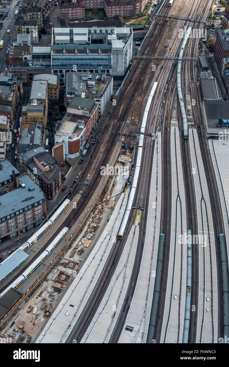 Aerial view of London rail network close to London Bridge Railway Station - Stock Image