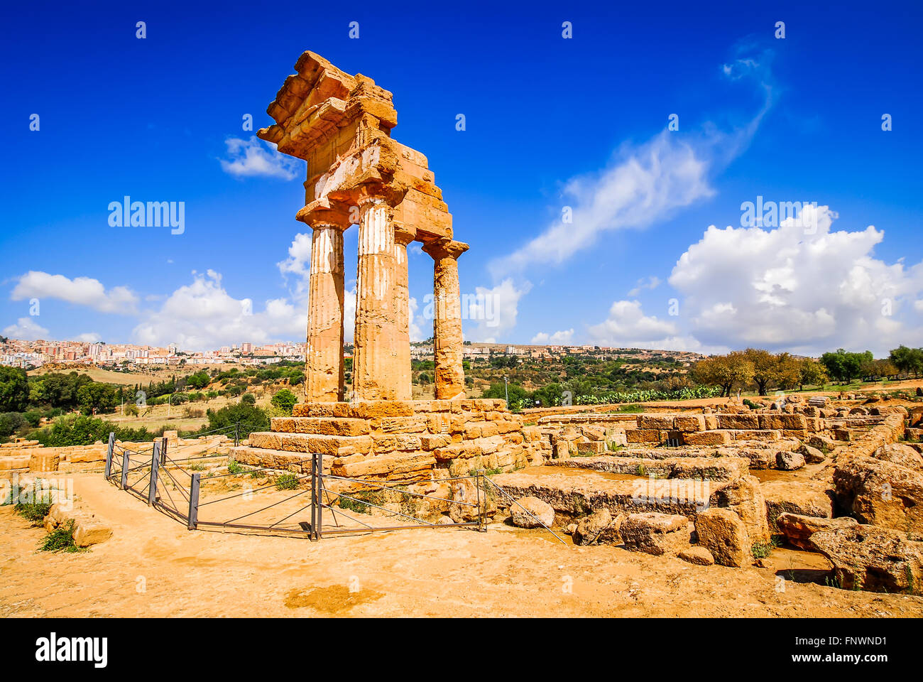 Agrigento, Sicily. Temple of Castor and Pollux one of the greeks temple of Italy (Magna Graecia). The ruins are - Stock Image