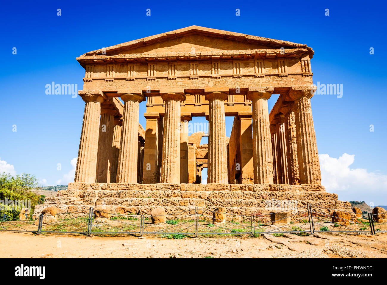 Agrigento, Sicily, Italy. Ercole Ancient Greek temple in the Valley of the Temples, Sicilian island. - Stock Image