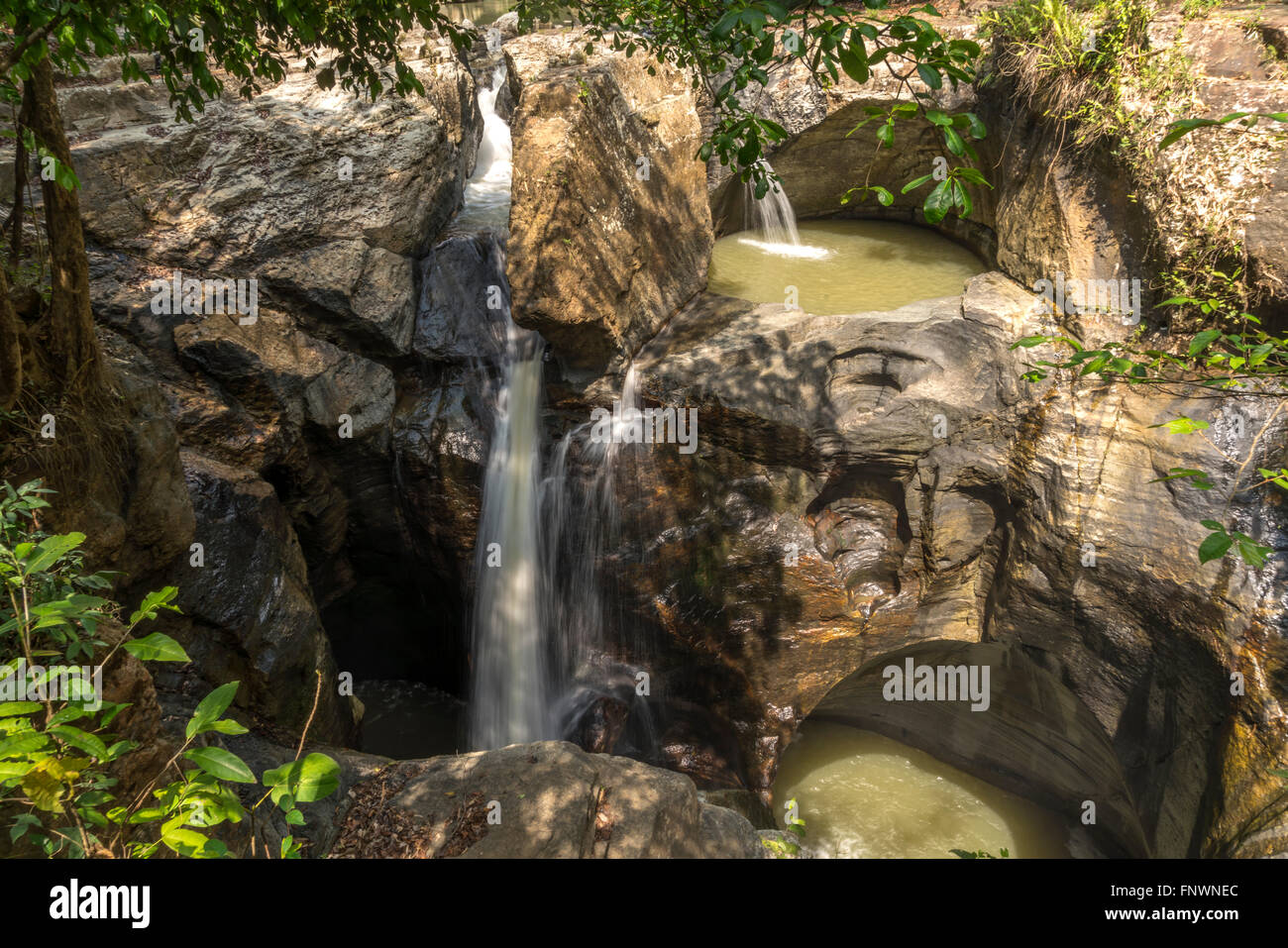 Cunca Wulang Canyon and waterfall near Labuan Bajo, Flores, Indonesia, Asia - Stock Image