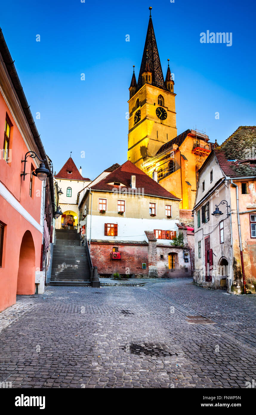 Sibiu, Romania. Evangelic Church, built in 1530 in the Huet Square, seen from medieval Lower Town city, Transylvania. Stock Photo