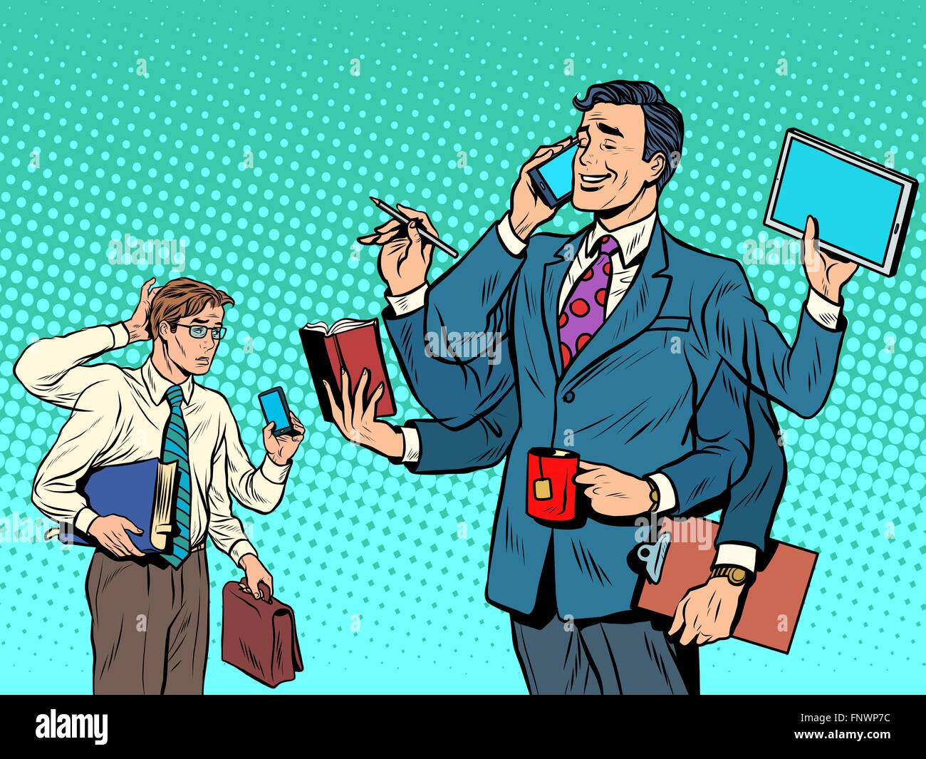 Cool successful businessman and a loser - Stock Vector