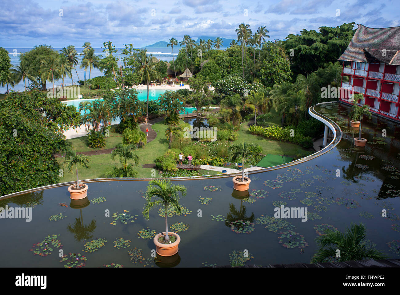 Meridien Hotel on the island of Tahiti, French Polynesia, Tahiti Nui, Society Islands, French Polynesia, South Pacific. - Stock Image